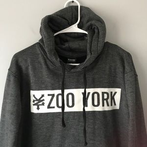 Mens Zoo York Hoodie Grey Pull Over Hooded Sweatshirt Tracksuit Top